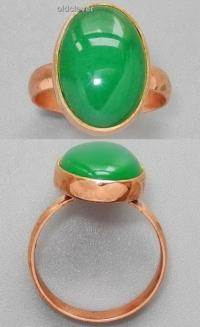 Медное кольцо с хризопразом УМК005
