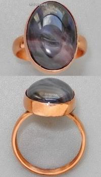 Медное кольцо с черным агатом УМК007