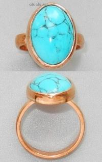 Медное кольцо с бирюзой УМК008