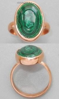 Медное кольцо с малахитом УМК009