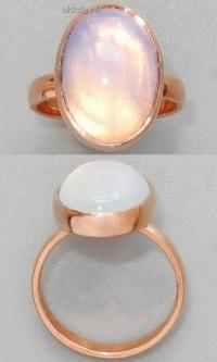 Медное кольцо с лунным камнем УМК010